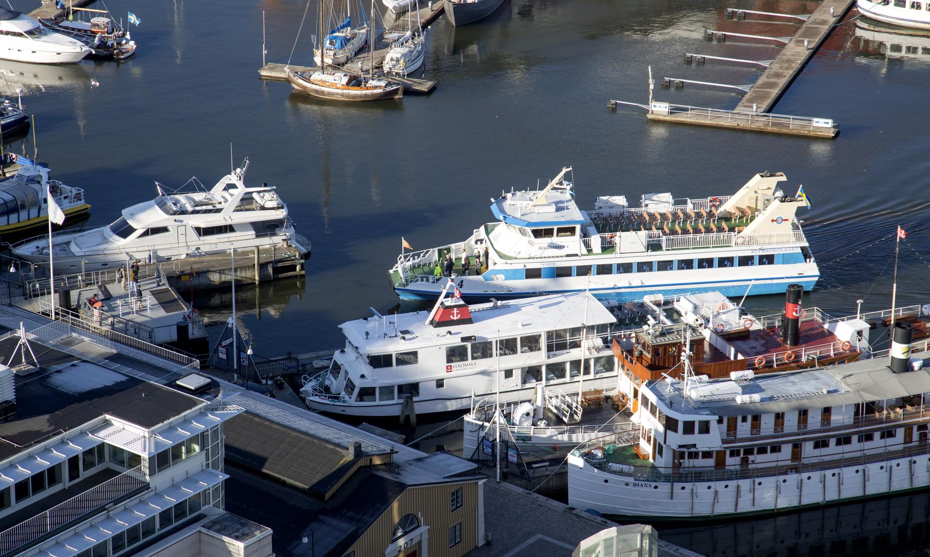 Passagerarbåtar vid Lilla Bommen i Göteborg