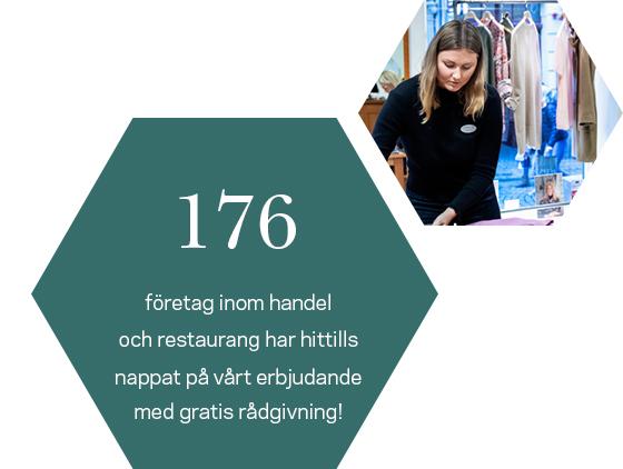 176 företag i besöksnäringen som fått gratis rådgivning. Kvinna bakom disk i butik.