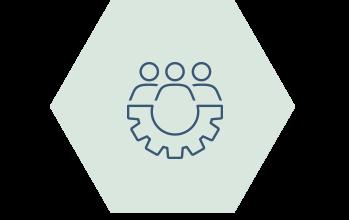 Ikon samarbete hexagon, människor kugghjul
