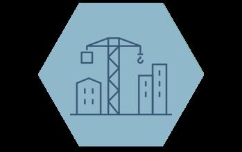 Ikon stadsutveckling hexagon
